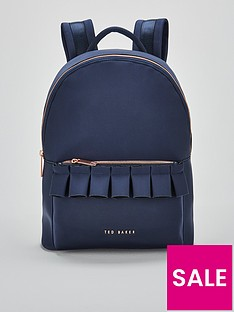 ted-baker-rresse-ruffle-detail-zip-backpack-navy