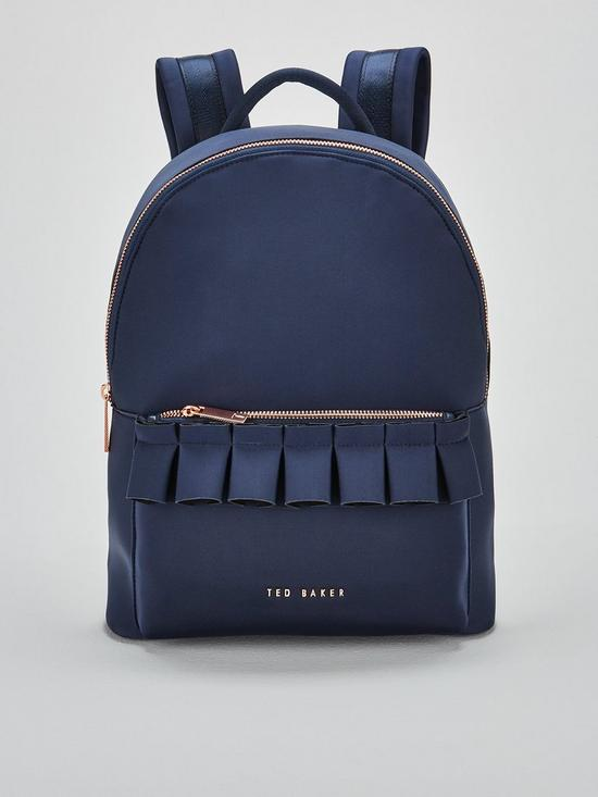6ae25041b70 Ted Baker Rresse Ruffle Detail Zip Backpack - Navy | very.co.uk