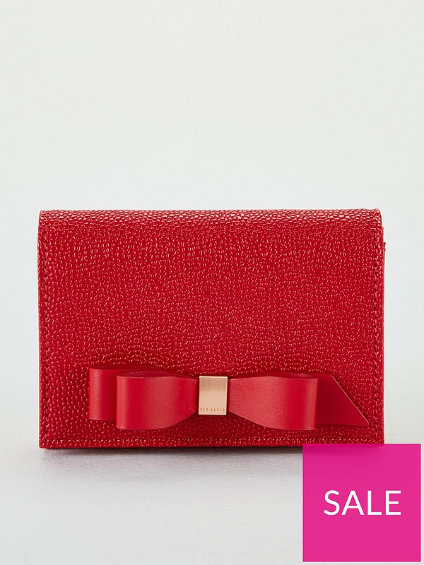 26894003421 Ted Baker Leonyy Bow Flap Mini Purse - Red | very.co.uk