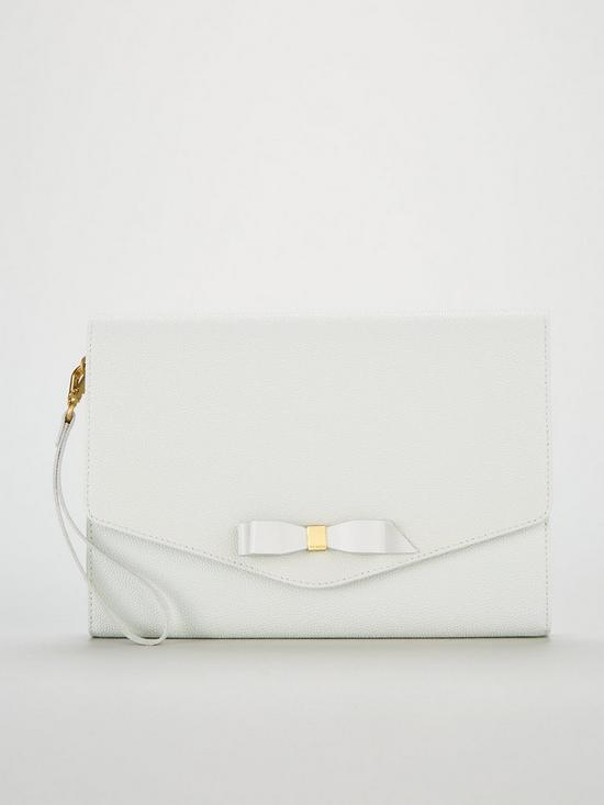 fb871e8c7 Ted Baker Krystan Bow Leather Envelope Pouch - White
