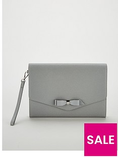 59d2c93385d1 Ted Baker Krystan Bow Leather Envelope Pouch Clutch Bag - Grey