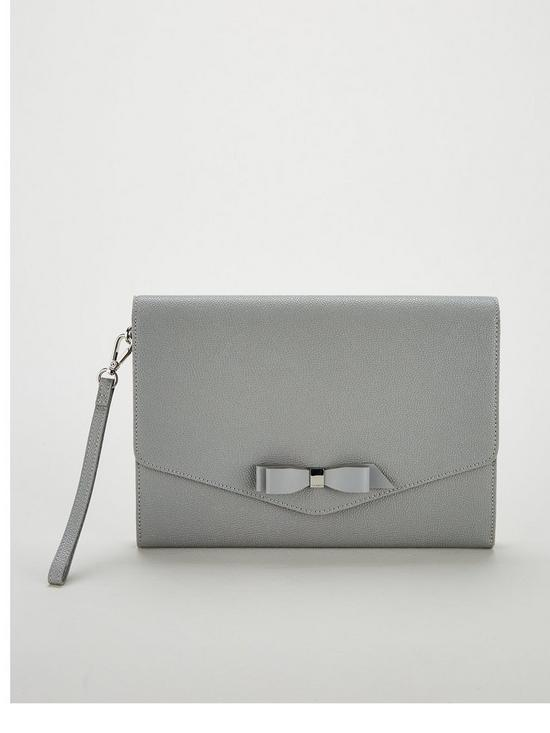 84962a560 Ted Baker Krystan Bow Leather Envelope Pouch Clutch Bag - Grey ...