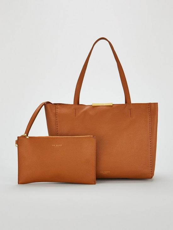fffaa55cb Ted Baker Clarkia Soft Grain Faceted Bar Shopper Bag - Brown