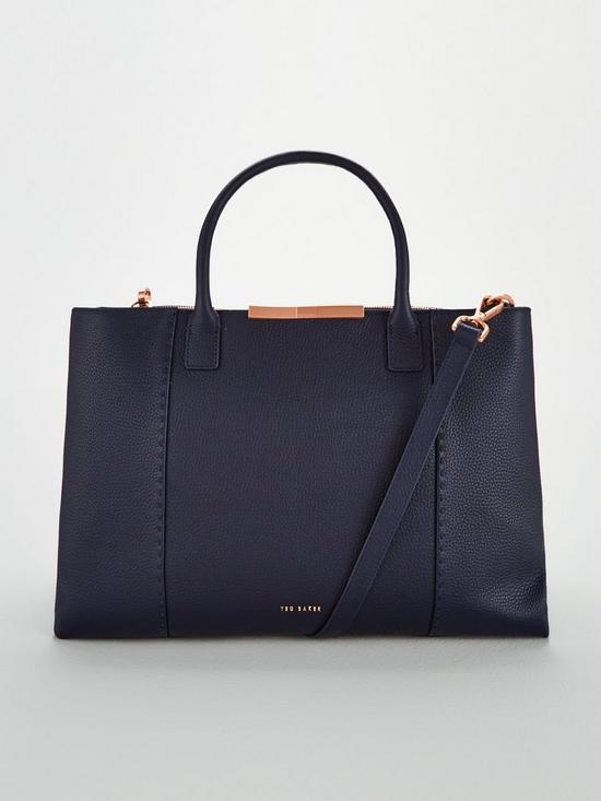 b6492e05a5893 Ted Baker Callia Soft Grain Facetd Bar Large Tote Bag - Navy
