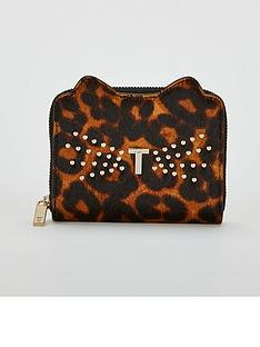 eff1a67e16230b Ted Baker Jasse Exotic Print Cat Small Zip Purse - Black