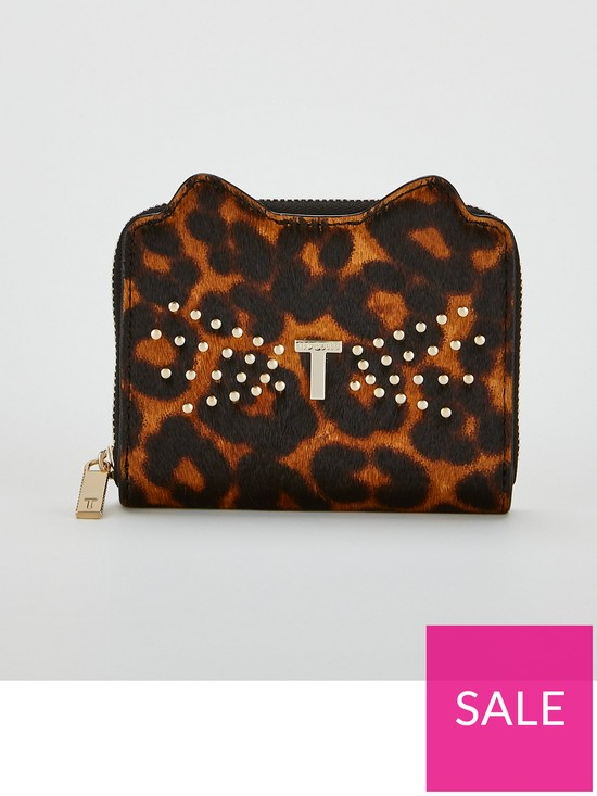 6a85d2bcb1 Ted Baker Jasse Exotic Print Cat Small Zip Purse - Black   very.co.uk