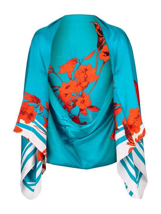 e61e7fe5a1c8 Ted Baker Claudi Fantasia Silk Wrap Cape Scarf - Turquoise