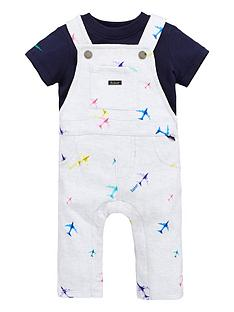737e373b4 Baker by Ted Baker Baby Boys Airplane Dungaree And Polo Set