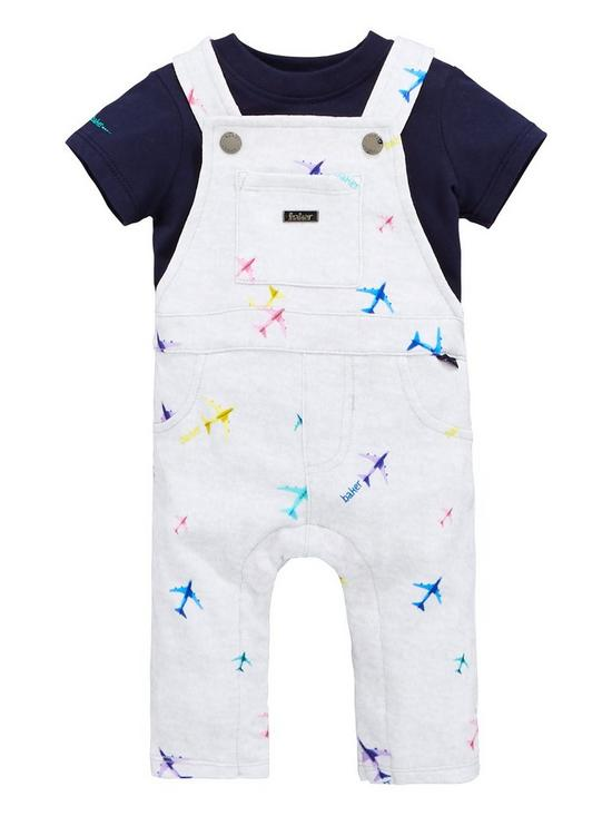 7aa95a981d8b Baker by Ted Baker Baby Boys Airplane Dungaree And Polo Set