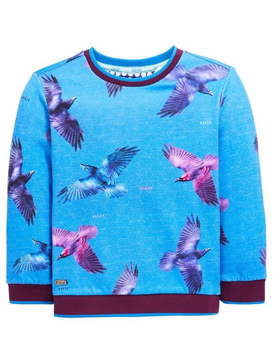 b35aa89f536ba2 Baker by Ted Baker Boys Bird Print Long Sleeve T Shirt