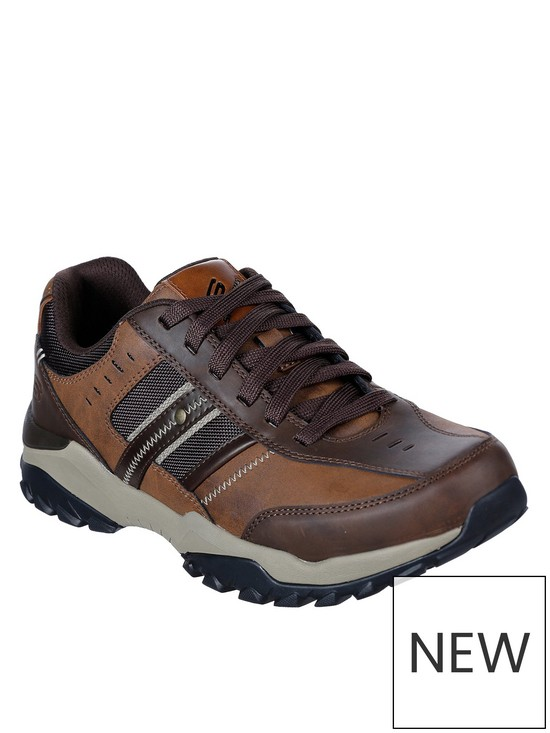 ce0385c79a Skechers Henrick Delwood Leather Lace Up Shoes - Brown   very.co.uk