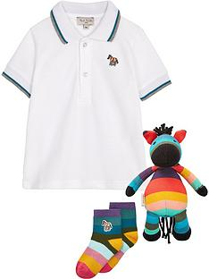 paul-smith-junior-baby-boys-polo-shirt-socks-and-zebra-toy-gift-box--nbspwhite