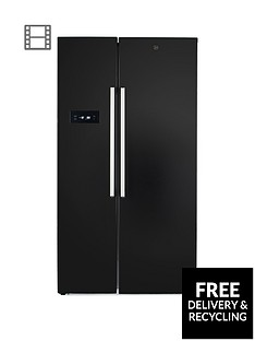Hoover HSBSF178BK 90.8cm Wide Total No Frost 2-Door American Style Fridge Freezer - Black