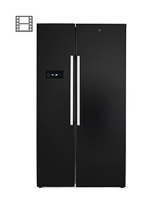 Hoover HSBSF178BK 90.8cm Wide Total No Frost 2-Door American Style Fridge Freezer - Black Best Price, Cheapest Prices