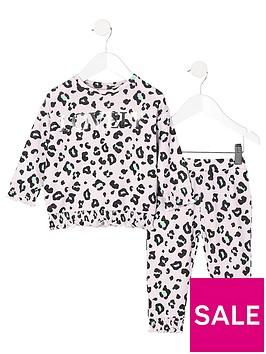 river-island-mini-mini-girls-pink-leopard-print-cosy-set