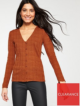 v-by-very-button-through-soft-knit-top-rust
