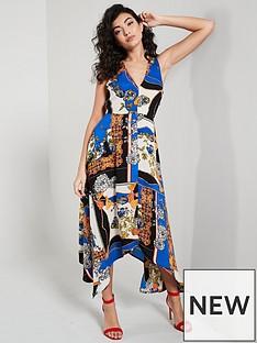 9b15968c281 AX Paris Scarf Printed Asymmetric Hem Dress - Blue