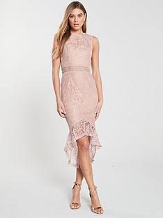 25247ea1652f AX Paris Lace Dip Hem Bodycon Dress - Mushroom