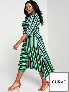 de3fc87b11 AX PARIS CURVE Ax Paris Curve Green Striped Tie Midi Dress