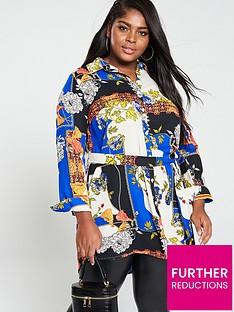 c09be7578699 AX PARIS CURVE Chain Print Shirt Dress - Blue