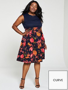 c710d61d48c8 AX PARIS CURVE 2-In-1 Floral Print Skirt Dress - Navy