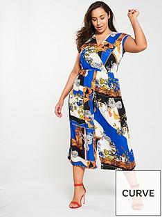 f5481556f65 AX PARIS CURVE Chain Printed Wrap Wide Leg Jumpsuit - Blue