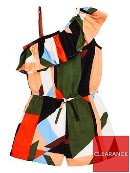v-by-very-girls-geometric-ruffle-one-shoulder-playsuitnbsp--multi