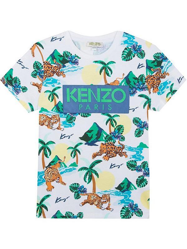 982e119d Kenzo Boys Hawai Tiger Print Short Sleeve T-shirt | very.co.uk
