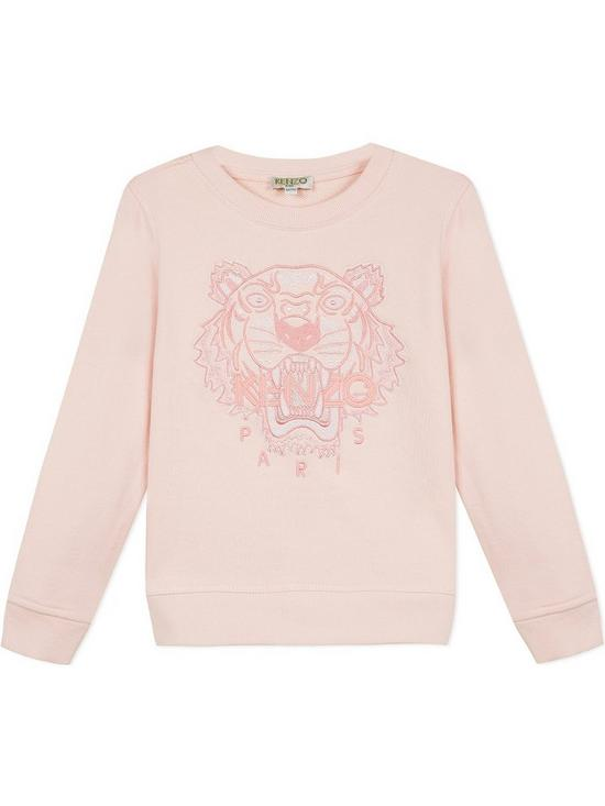78ae161a72e Girls Classic Tiger Embroidered Sweatshirt - Pink
