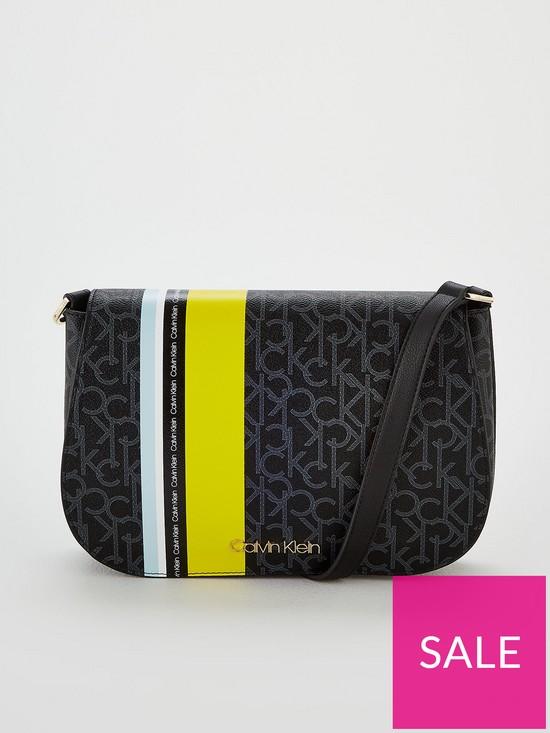 5c9567ff60 Calvin Klein Monogram Satchel Bag - Black Mono/Lime | very.co.uk