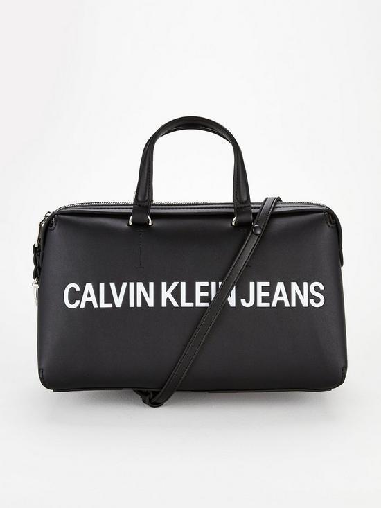 468a99d8bf Calvin Klein Logo Zipper Shoulder Barrel Bag - White/Black | very.co.uk