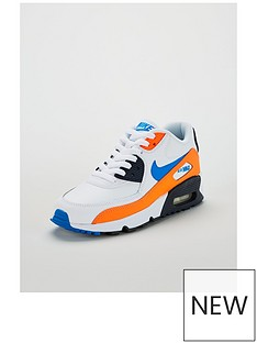 low priced 4ed30 1cddc Nike Air Max 90 Leather Junior Trainers - White Blue Orange