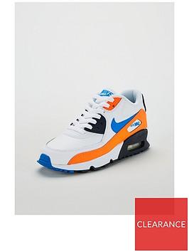 nike-air-max-90-leather-junior-trainers-whiteblueorange