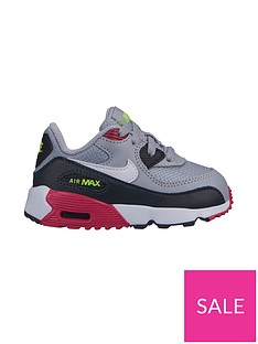 new product e92c2 22946 Nike Air Max 90 Mesh Infant Trainers - Grey Pink