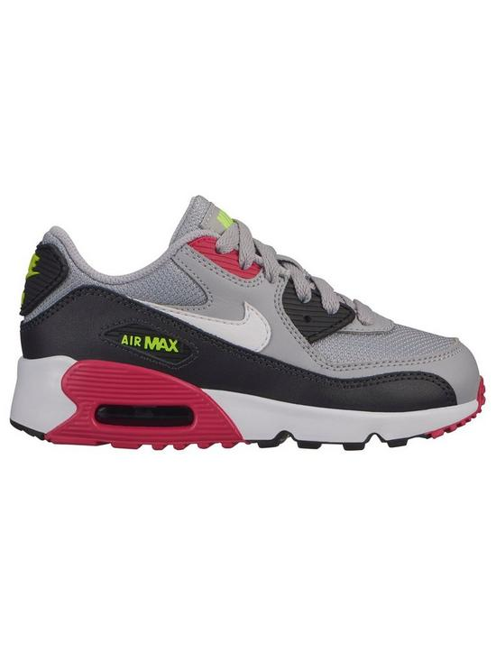 713e4023e8 Nike Air Max 90 Mesh Childrens Trainers - Grey/Pink | very.co.uk