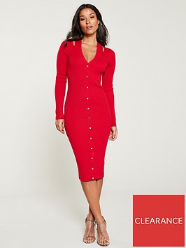 karen-millen-cut-out-popper-rib-knit-dress-red