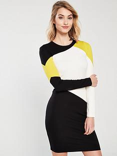 karen-millen-graphic-colour-block-dress-multi