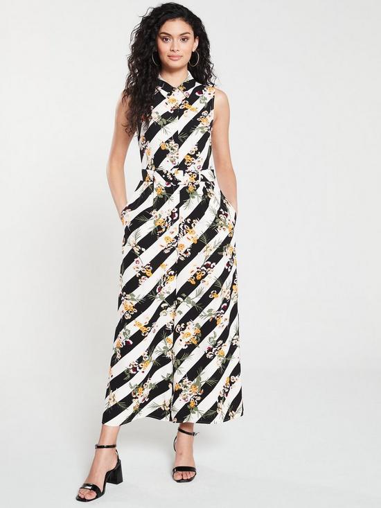 f662e009768 KAREN MILLEN Floral and Stripe Jumpsuit - Multi
