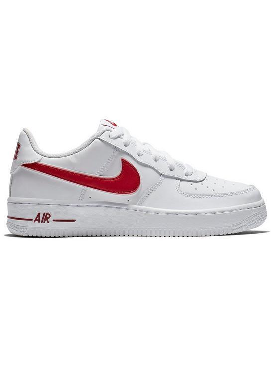 96aca9eddb Nike Air Force 1-3 Junior Trainers - White/Red | very.co.uk