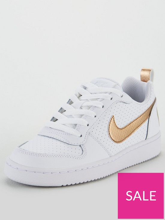 2b188b93d7 Nike Court Borough Low Junior Trainers - White/Gold | very.co.uk