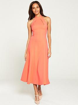 karen-millen-body-skimming-halter-midi-dress-coral