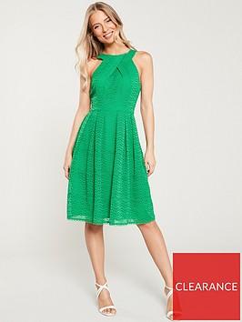 karen-millen-pleatednbspbroderienbsphalter-necknbspdress-green