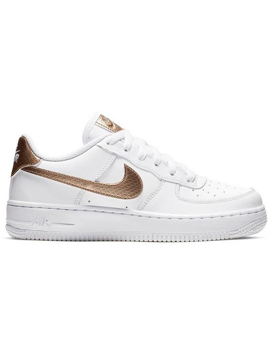 524e6f2ebb Nike Air Force 1 Junior Trainers - White/Gold | very.co.uk