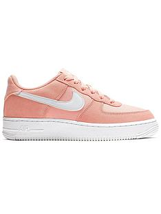 best sneakers 061a5 1eb7d Nike Air Force 1 Junior Trainers - Coral White
