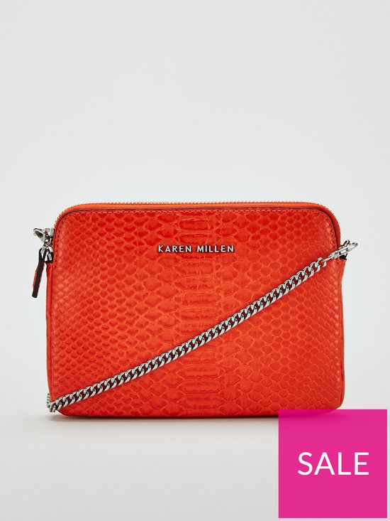 28776799cb KAREN MILLEN PU Python Cross Body Bag - Orange | very.co.uk