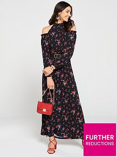 v-by-very-petite-halter-cold-shoulder-maxi-dress-floral-print
