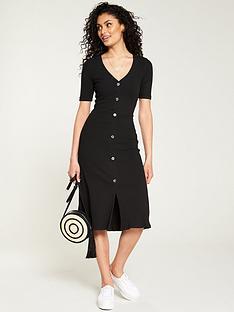 05c96a15b93 V by Very Horn Button Rib Midi Dress - Black