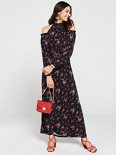 68be58711bf V by Very Cold Shoulder Jersey Maxi Dress - Floral Print
