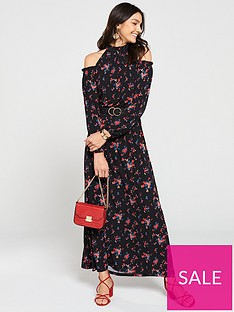 e6a9b11fb7f8c V by Very Cold Shoulder Jersey Maxi Dress - Floral Print