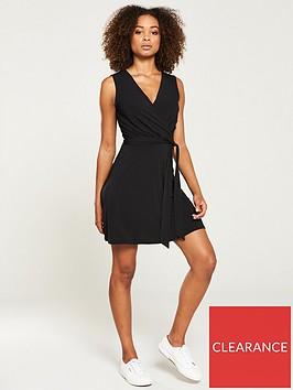 v-by-very-jersey-wrap-mini-dress-black